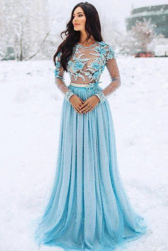 Blue A-Line Lace Prom Dress #floraltop