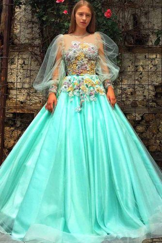 Mint A-line Prom Dress With Long Sleeves #lace #alinedress