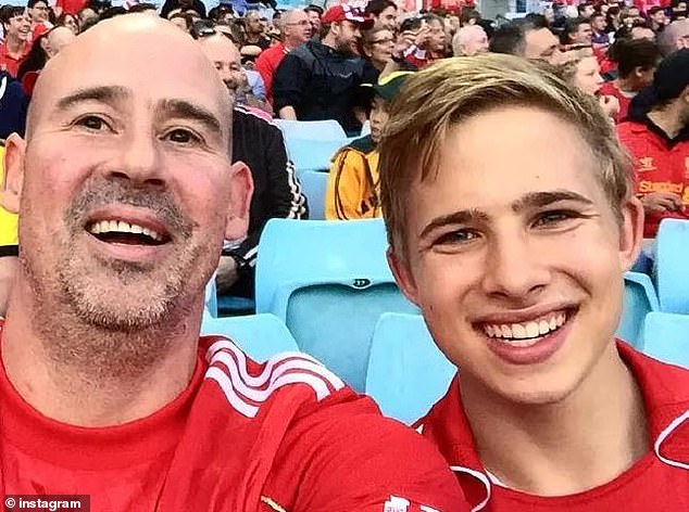 Former private schoolboy Kyle Daniels (pictured with his father) , 20, allegedly assaulted the girls while he was teaching them at Mosman Swim Centre in Sydney