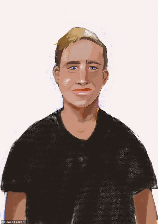 Daniels appeared briefly via video link wearing a black T-shirt. He was not asked to speak (court sketch pictured)