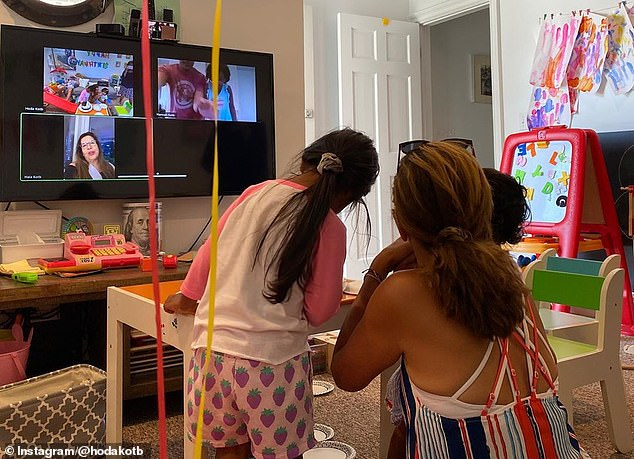 Special: Hoda Kotb celebrated her 56th birthday on Sunday with her daughters Haley Joy, three, and Hope Catherine, one, while enjoying a virtual party with her family