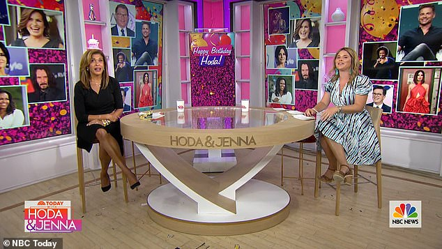 Today family: Hoda kicked off her birthday celebrations on the Today show on Friday with her fourth-hour co-host Jenna Bush Hager leading the surprise toasts