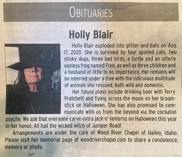Genius: Holly Blair from Idaho died on August 17 ¿ and according to her obit, she