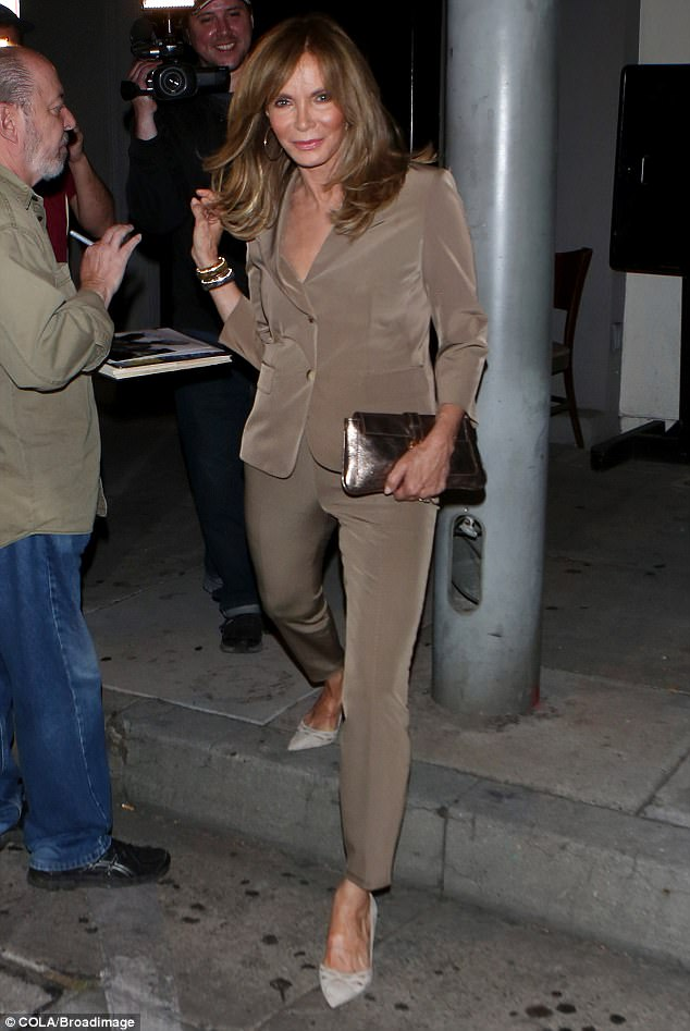 Taking the right steps: Jaclyn Smith looked slender in a beige suit as she exited Craig
